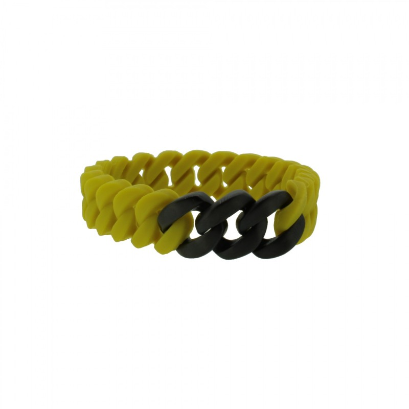 HANSE-KLUNKER MINI Damen Armband 107714 Edelstahl senf gelb schwarz matt