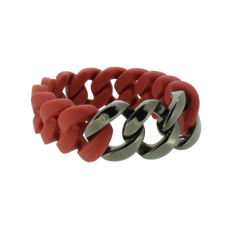HANSE-KLUNKER ORIGINAL Damen Armband 107929 Edelstahl Marsala rot gun metal