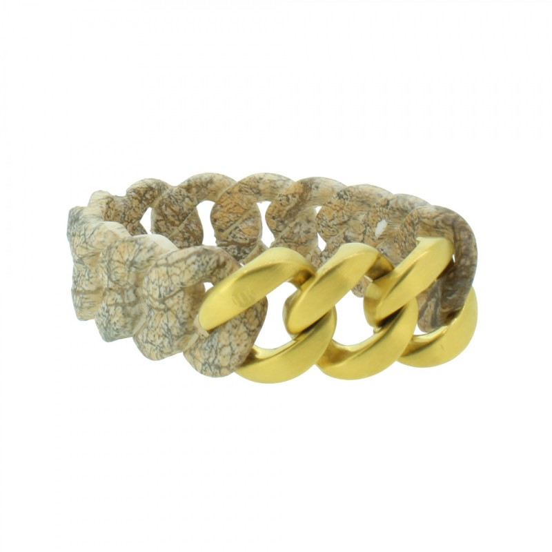 HANSE-KLUNKER ORIGINAL Damen Armband 107926 Edelstahl stone gold matt