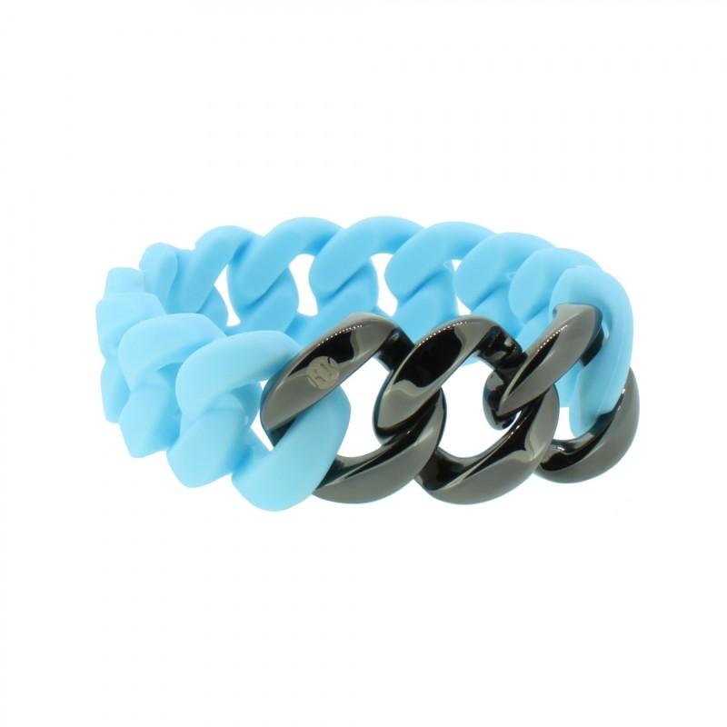 HANSE-KLUNKER ORIGINAL Damen Armband 107957 Edelstahl hellblau gun metal