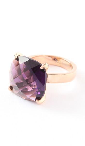 Hanse-Klunker Ring 100455 Edelstahl rosegold lila