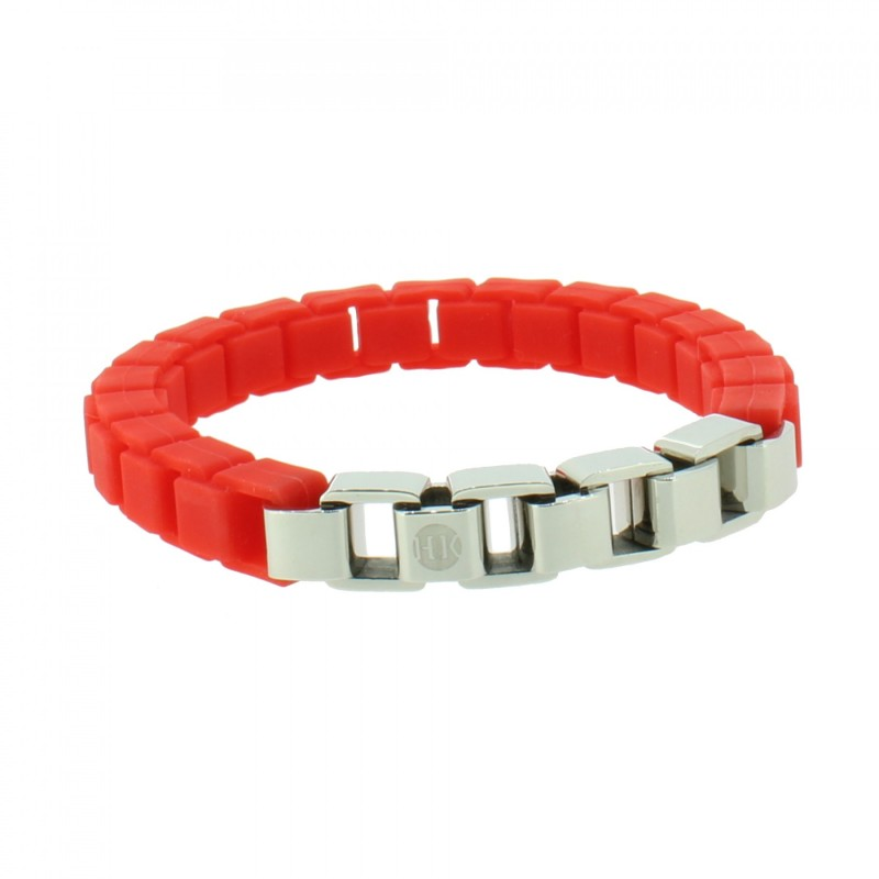 HANSE-KLUNKER FASHION Damen Armband 108004 Edelstahl leuchtrot silber