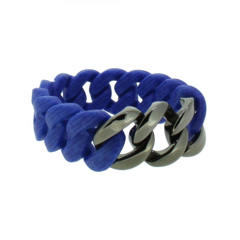 HANSE-KLUNKER ORIGINAL Damen Armband 107959 Edelstahl jeans marine blau gun metal