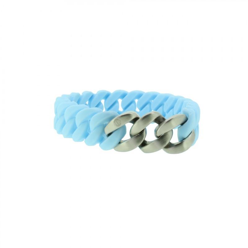HANSE-KLUNKER MINI Damen Armband 107707 Edelstahl hellblau silber matt