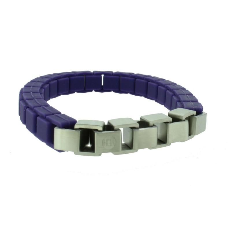 HANSE-KLUNKER FASHION Damen Armband 110472 Edelstahl purple silber matt