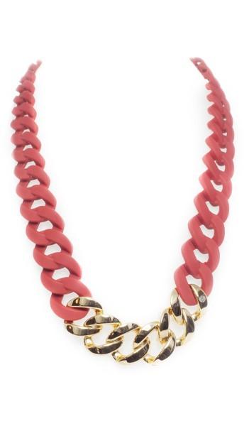 HANSE-KLUNKER Damen Kette 107077 Edelstahl Marsala rot gold