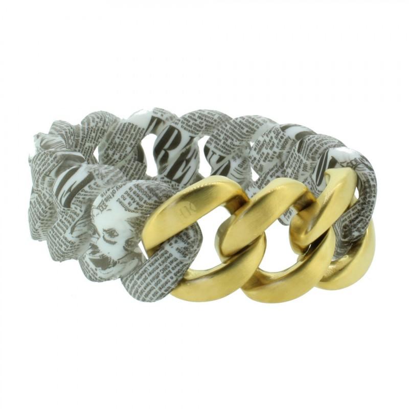HANSE-KLUNKER ORIGINAL Damen Armband 107397 Edelstahl vintage letter gold matt