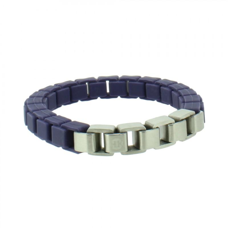 HANSE-KLUNKER FASHION Damen Armband 107998 Edelstahl nachtblau silbermatt