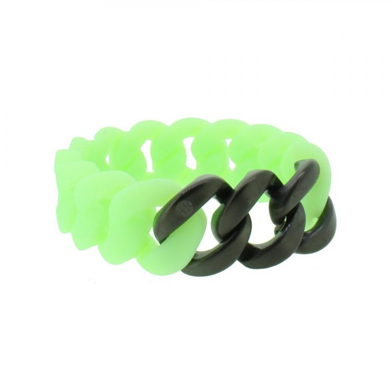 HANSE-KLUNKER ORIGINAL Damen Armband 107948 Edelstahl mintgrün schwarz matt