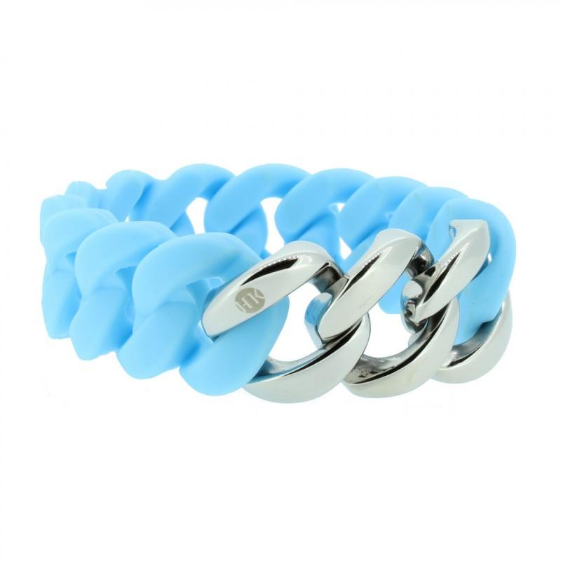 HANSE-KLUNKER ORIGINAL Damen Armband 106970 Edelstahl hellblau silber
