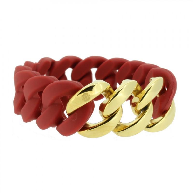 HANSE-KLUNKER ORIGINAL Damen Armband 106787 Edelstahl Marsala rot gold