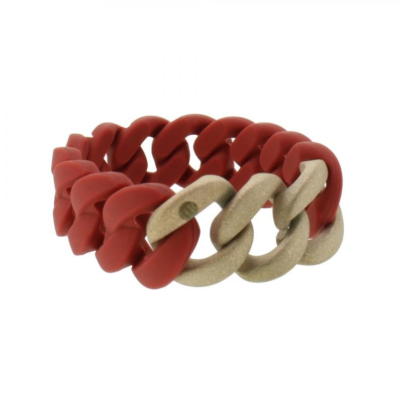 HANSE-KLUNKER ORIGINAL Damen Armband 107930 Edelstahl Marsala rot rosegold sangestrahlt