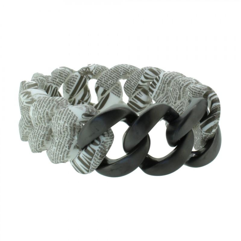 HANSE-KLUNKER ORIGINAL Damen Armband 107400 Edelstahl vintage letter schwarz matt