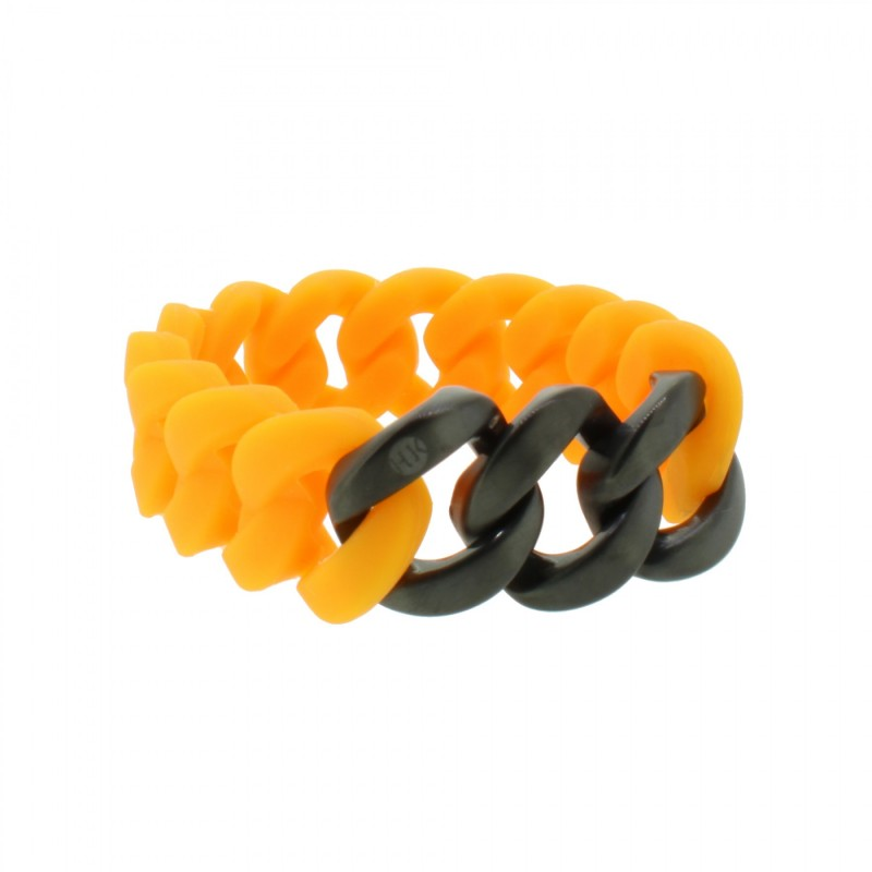 HANSE-KLUNKER ORIGINAL Damen Armband 107932 Edelstahl orange schwarz matt