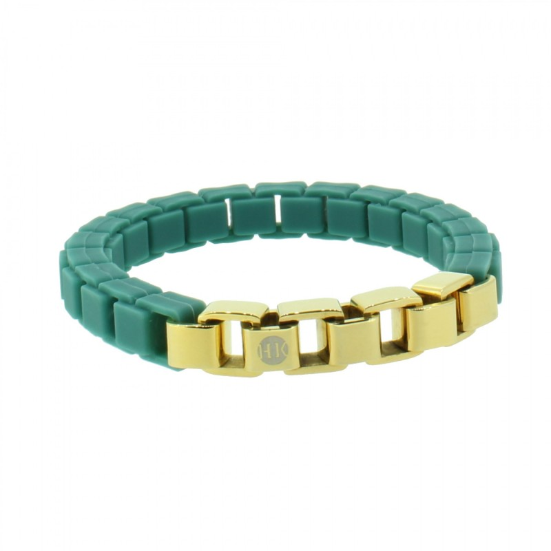 HANSE-KLUNKER FASHION Damen Armband 108003 Edelstahl türkisblau gold