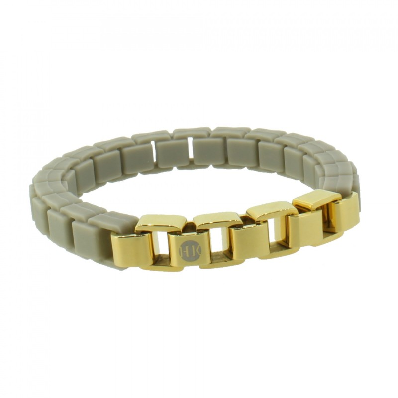 HANSE-KLUNKER FASHION Damen Armband 108011 Edelstahl graubeige gold