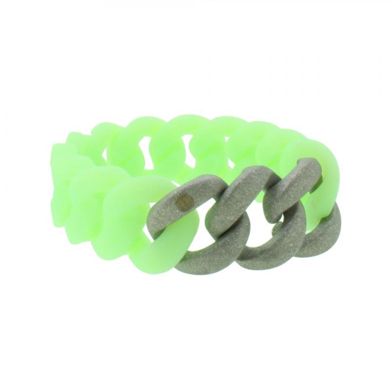 HANSE-KLUNKER ORIGINAL Damen Armband 107946 Edelstahl mintgrün silber sandgestrahlt